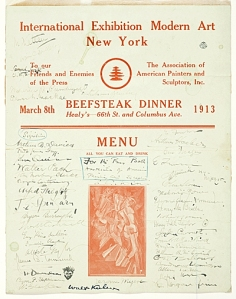 An autographed menu from the Armory Show's 'Beefsteak dinner'